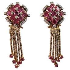 Vintage Estate 1940's 7.38 Carat Ruby Diamond Removable Tassel Earrings 18K