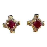 Vintage Estate Ruby & Diamond Earrings 18K