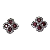 Estate Natural Ruby & Diamond Earrings 14K