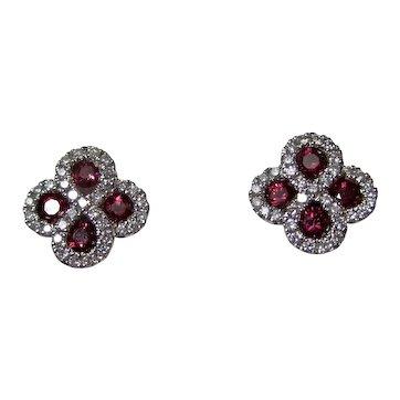Estate Natural Ruby & Diamond Earrings 14K