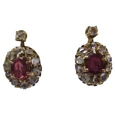 Antique Victorian Ruby & Diamond Earrings 14K