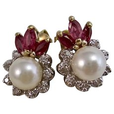 Vintage Estate Ruby Diamond Cultured Pearl Earrings 14K