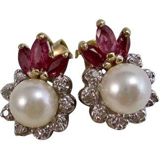 Vintage Estate Ruby Diamond Cultured Pearl Wedding Day Birthstone Earrings 14K
