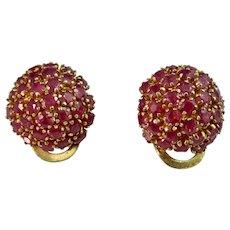 Vintage Estate Natural Ruby Birthstone Anniversary Earrings 18K
