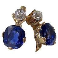 Antique Victorian 3.10 Carat Natural Sapphire & Diamond Wedding Day Birthstone Earrings 18K