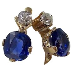 Impressive Antique Victorian 3.10 Carat Natural Sapphire & Diamond Wedding Day Birthstone Earrings 18K