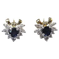 Natural Sapphire Diamond Estate Bow Wedding Day Birthstone Earrings 18K