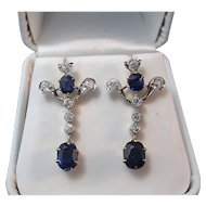 Art Deco No Heat Sapphire Diamond Estate Wedding Day Birthstone Earrings 18K