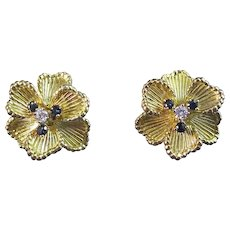 Natural Sapphire & Diamond Estate Floral Wedding Birthstone Anniversary Earrings 18K