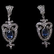Estate Natural Sapphire & Diamond Wedding Day Birthstone Dangle Earrings 14K