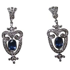 Estate Natural Sapphire & Diamond Wedding Day Birthstone Dangle Earrings 14K