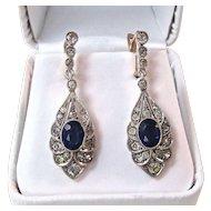 1930's Estate Sapphire Dangle Wedding Birthstone Earrings Silver