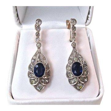 Art Deco Estate Sapphire Dangle Wedding Birthstone Earrings Silver