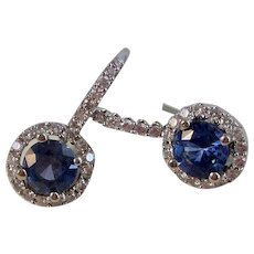 Natural Sapphire & Diamond Wedding, Anniversary, Birthstone Estate Earrings 14K