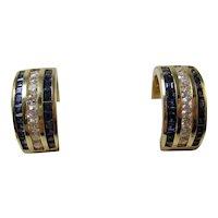 Natural Sapphire & Diamond Wedding Day Birthstone Anniversary Estate Earrings 14K