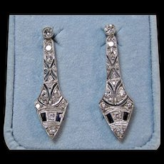 Edwardian Estate Natural Sapphire & Old European Cut Diamond Wedding Day Dangle Earrings Platinum