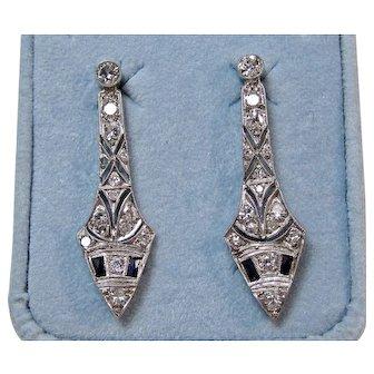 Edwardian Estate Natural Sapphire & Old European Cut Diamond Wedding Day Dangle Earrings Platinum