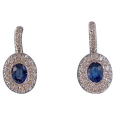Vintage Estate Natural Sapphire Diamond Drop Wedding Day Birthstone Earrings 18K