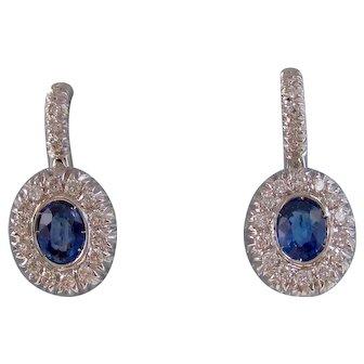 Vintage Estate Natural Sapphire Diamond Drop Wedding Day Birthstone Earrings 18K