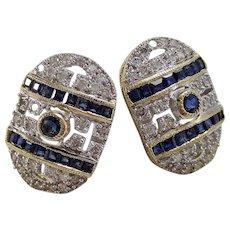 Estate Natural Sapphire & Diamond Wedding Birthstone Earrings 18K