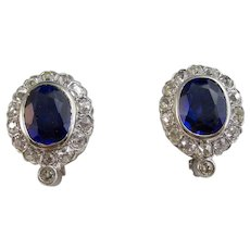 Large Vintage Estate Art Deco Sapphire & Diamond Wedding Birthstone Anniversary Earrings 14K