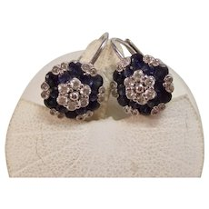 Vintage Estate Sapphire & Diamond Earrings 18K