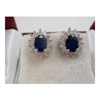 Vintage Estate Wedding Day Sapphire & Diamond Halo Earrings 14K