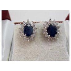 Vintage Estate Wedding Day Sapphire & Diamond Halo Earrings 14K
