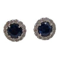 Vintage Estate Natural Sapphire & Diamond Wedding Day Birthstone Earrings 14K