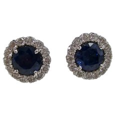 Vintage Estate Natural Sapphire & Diamond Wedding Day Birthstone Earrings 14K