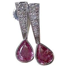 Estate Natural Pink Sapphire & Diamond Wedding Day Birthstone Earrings 14K