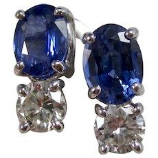 Vintage Estate Ceylon Sapphire & Diamond Wedding Day Earrings 14K