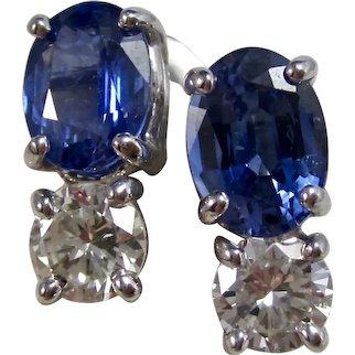 Vintage Estate Ceylon Sapphire & Diamond Wedding Day Earrings 14K