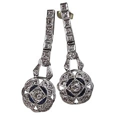 Estate Art Deco Dangle Diamond Sapphire Wedding Day Birthstone Anniversary Earrings Platinum 14K