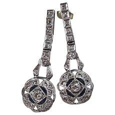 Estate Art Deco Dangle Diamond Sapphire Earrings Platinum 14K White Gold