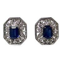 Vintage Estate Natural Sapphire & Diamond Earrings 14K