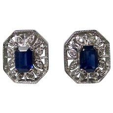 Vintage Estate Natural Sapphire & Diamond Wedding Day Birthstone Ring 14K