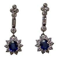 Estate Art Deco 1930's Sapphire & Diamond Dangle Earrings 18K