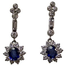 Estate Art Deco 1930's Sapphire & Diamond Dangle Earrings 18K