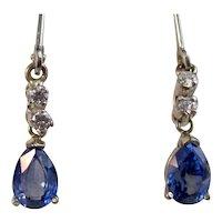 Art Deco Estate Natural Sapphire Diamond Drop Earrings 14K