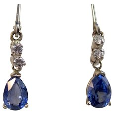 Art Deco Estate Natural Sapphire Diamond Drop Earrings 14K