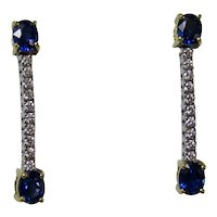 Estate Wedding Day Birthstone Sapphire & Diamond Drop Earrings 18K