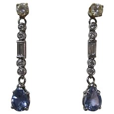 Vintage Estate 4.10 Carat Ceylon Sapphire Diamond Earring Jackets 14K