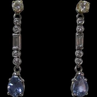 Vintage Estate 4.10 Carat Ceylon Sapphire Diamond Earring Jackets 14K