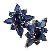 Vintage Estate Wedding Day Birthstone 3.80 Carat Ceylon Sapphire Stud Earrings 14K