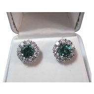 Natural Tourmaline Diamond Estate Wedding Day Birthstone Anniversary Earrings 14K