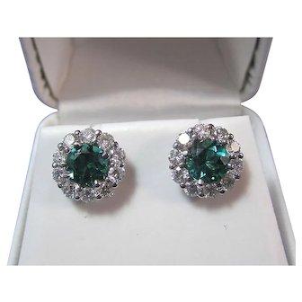 Natural Tourmaline Diamond Estate Wedding Day Birthstone Anniversary Earrings 14K