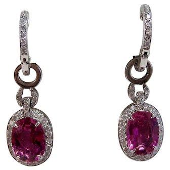 Estate 1950's Wedding Day Birthstone Tourmaline Dangle Earrings 18K