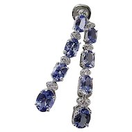 Estate Tanzanite & Diamond Wedding Day Birthstone Drop Earrings 14K