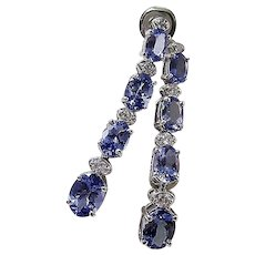 Estate Tanzanite & Diamond Wedding Day Birthstone Drop Earrings 14K